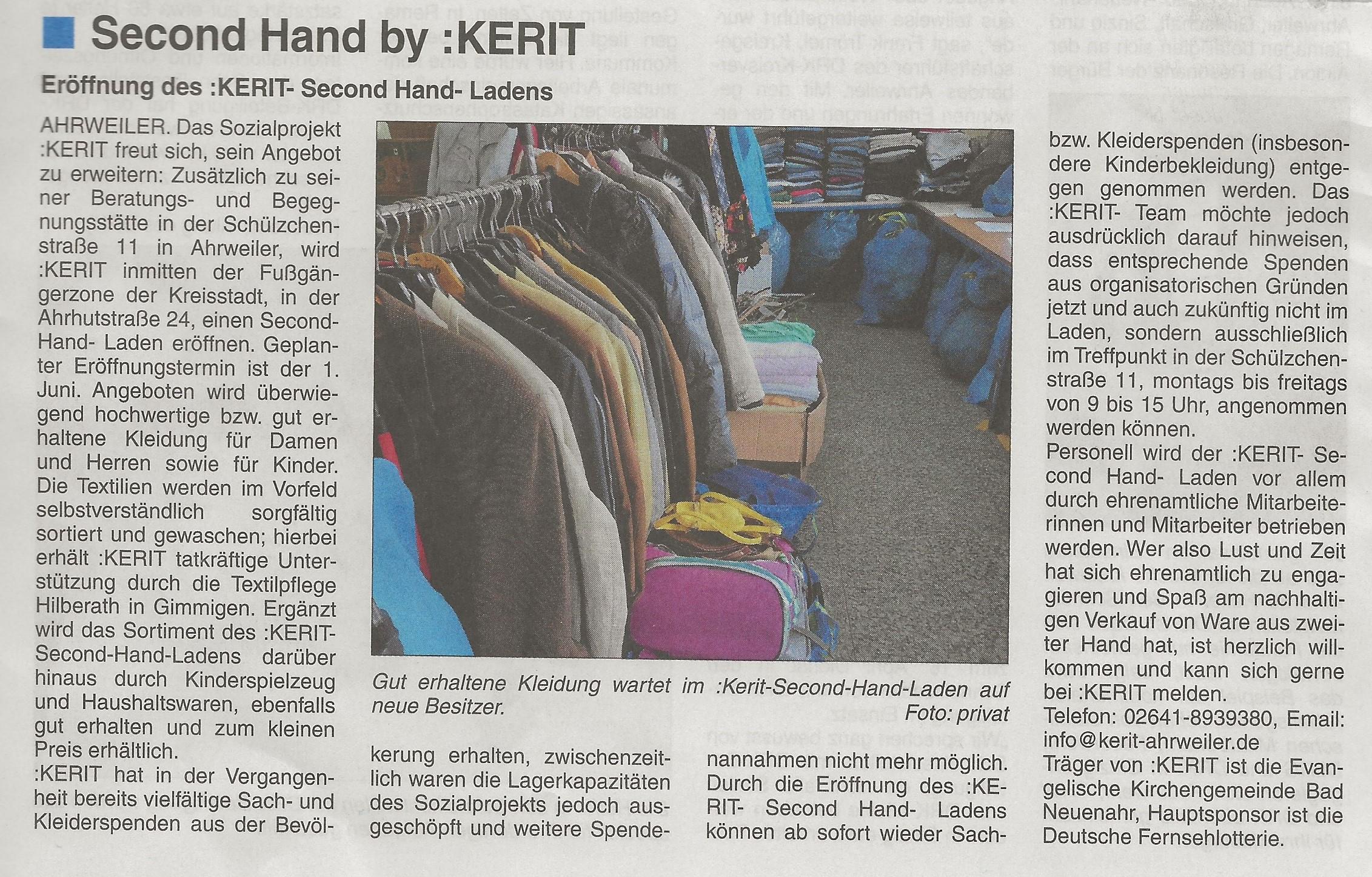 Second-Hand-Laden von :KERIT eröffnet am 01.06.2021